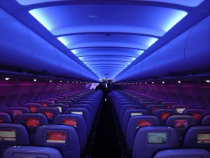 inside the cabin of virgin america